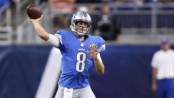 Aug 18, 2016; Detroit, MI, USA; Detroit Lions quarterback Dan Orlovsky throws the ball during the second quarter against the Cincinnati Bengals at Ford Field.