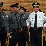 Sheriff Edward Rochford at funeral services for former Morris County Sheriff John M. Fox at St. Christopher R.C. Church in Parsippany. Fox served as County Sheriff from 1975 through 1992. September 30, 2015, Parsippany, NJ.