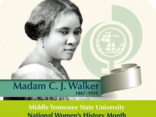 MTSU's 2017 National Women's History Month button features Madam C.J. Walker.