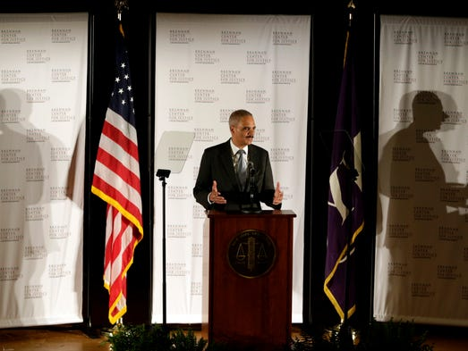 U.S. Attorney General Eric Holder delivers a keynote speech at New York University's law school on  Sept. 23 in New York.