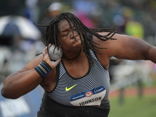 Felisha Johnson competes during the women's shot put final in the 2016 U.S. Olympic track and field team trials at Hayward Field.
