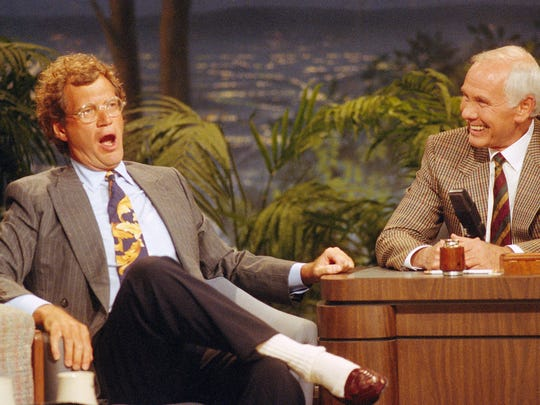 "Letterman shares a laugh with Johnny Carson during a taping of the ""The Tonight Show"" in Burbank, Calif., on Aug 30, 1991."