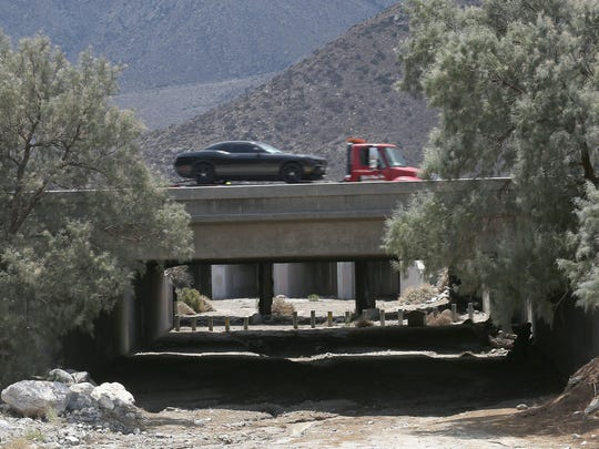 The East Channel Stubby Bridge, which carries I-10 over the Pacific Crest Trail in Whitewater, has known structural problems, and a lower sufficiency rating than the Tex Wash Bridge that collapsed Sunday.