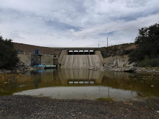 All that remains of the Humboldt River is seen below the dam at the Rye Patch Reservoir northeast of Lovelock on Aug. 6, 2015.