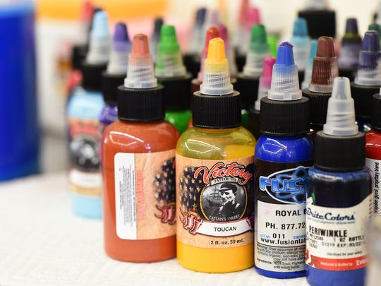 A collection of inks are seen at Body Graphics Tattoo shop in Reno on March 18.