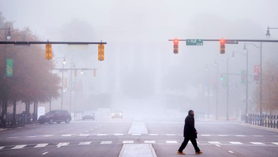 Heavy fog enshrouds Montgomery, Ala. on Wednesday morning