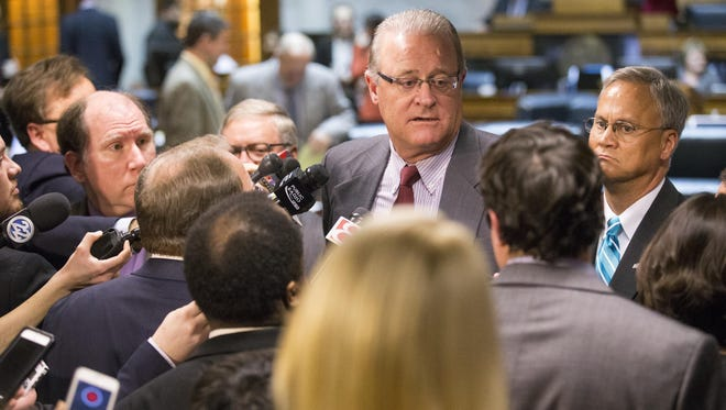Indiana Senate President David Long talks with journalists about Senate Bill 344, which generated vigorous debate about civil rights protections for the lesbian, gay, bisexual and transgender communities.