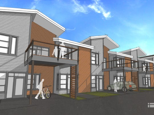 Eight townhomes are part of the development.