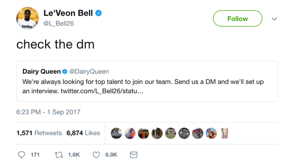 Le'Veon Bell went to work at a Dairy Queen in Pittsburgh after jokingly filling out application