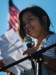 Raquel Mattos, 14, of Essex, talks about her experience immigrating to the US from Bolivia as a small child during a protest at Statehouse in Montpelier, Vt., on Monday, June 25, 2018. Hundreds protested President Trump's immigration policies, specifically the practice of separating immigrant children from their parents at the border.