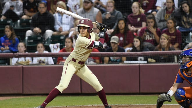 FSU senior outfielder Korina Rosario (8) at bat in the sixth inning on Wednesday night.