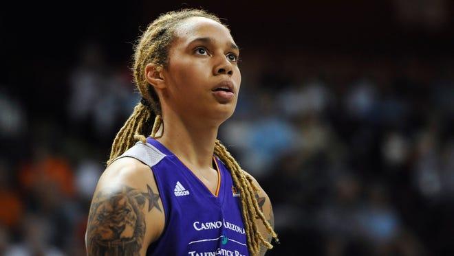 Phoenix Mercuryís Brittney Griner during a WNBA basketball game against the Connecticut Sun.