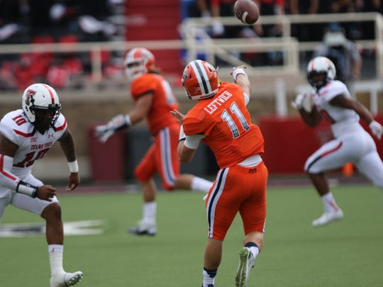 UTEP QB #11 Mack Leftwich attempts a pass downfield
