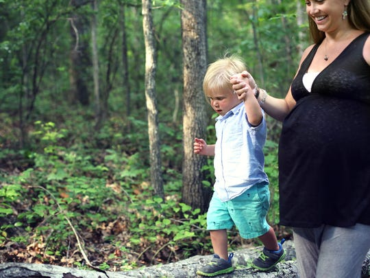Talia Gates with her son, Kye, during her maternity shoot.