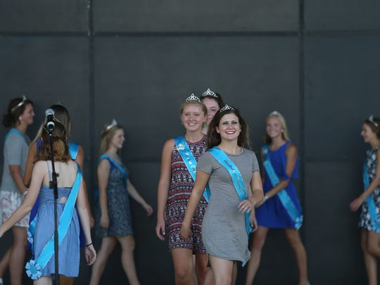 All of the fair queen contestants take the stage during the Iowa State Fair Queen Contest introductions at the Iowa State Fair on Thursday, Aug. 11, 2016, in Des Moines.