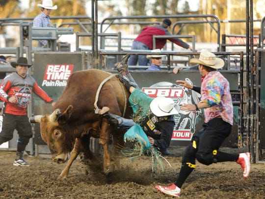 Brant Atwood getting rocked at PBR The Velocity Tour Salinas 2017'