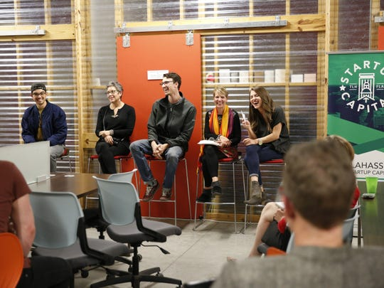 Panelists at the Startup Capital podcast listening party.