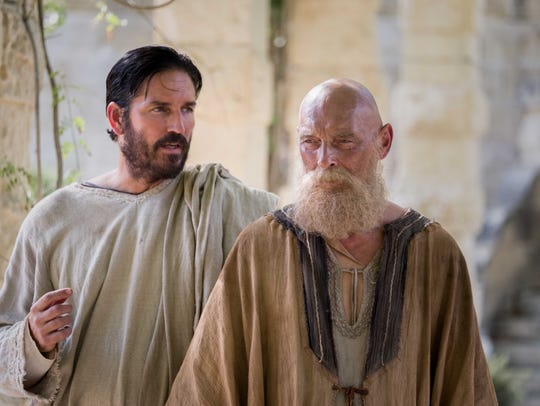 Jim Caviezel, left, returns to faith-based film as Luke alongside James Faulkner's titular character in 'Paul, Apostle of Christ,' in theaters March 28.