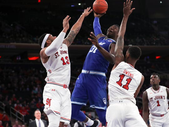 Seton Hall Pirates center Angel Delgado (31) drives