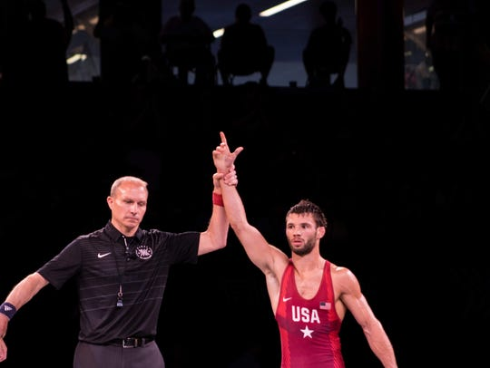 Thomas Gilman, pictured here at the Final X event in Lincoln, Nebraska, is headed to Russia to wrestle in the Ivan Yarygin Grand Prix, one of the toughest freestyle wrestling events in the world.