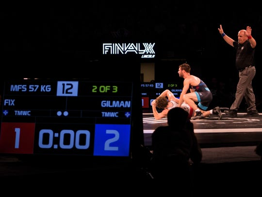 Thomas Gilman, a three-time All-American wrestler for Iowa, competed in USA Wrestling's Final X on Saturday, June 9, in Lincoln, Nebraska. Gilman beat Daton Fix, two matches to zero, to qualify for the 2018 U.S. men's freestyle world team