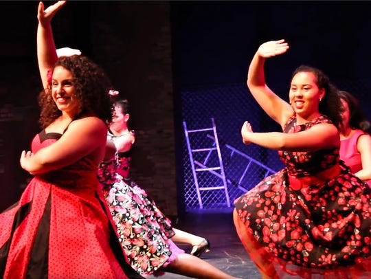 Kasey Britt as Anita and Rachel Cavoto as Juanita dance