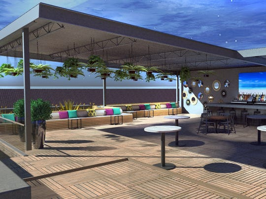 A rendering of the rooftop bar at the forthcoming Society at Bell Tower Shops in south Fort Myers.