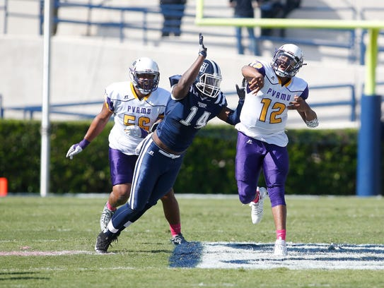 Jackson State defensive end Keontre Anderson (14) is