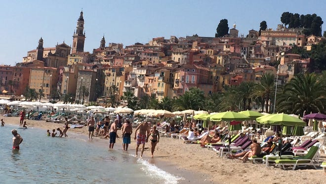 The beach and old town Menton, France.