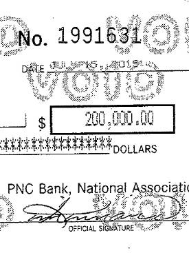 An image taken from the PDF copy of a $200,000 check from Cincinnati Parks to Great Parks Great Neighborhoods.