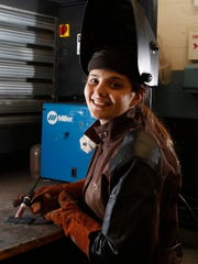 Madison Osuna, 17, from West Nyack is studying welding at Rockland BOCES CTEC program in West Nyack. Friday, May 06, 2016.
