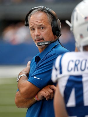 Indianapolis Colts head coach Chuck Pagano in the first second of their preseason NFL football game at Lucas Oil Stadium Sunday afternoon, August 13, 2017.