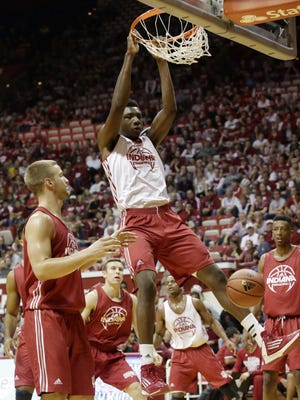 Indiana center Thomas Bryant threw down this dunk in a scrimmage Oct. 24, 2015, during IU's Hoosier Hysteria.