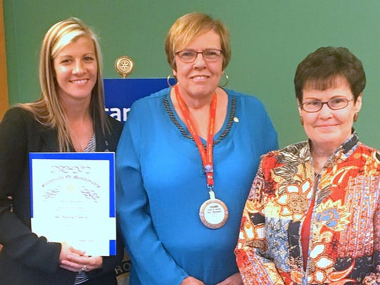 The Bath Rotary Club recently installed Jessica Thomas as a new member. From left are Thomas, her sponsor Joanne Sheehan and former club President Elaine Tears.