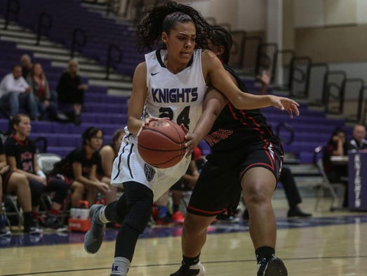 Shadow Hills' Natalia Johnson moves pass Palm Springs'
