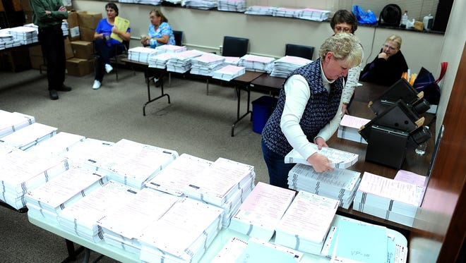 Rhonda Baker works on sorting ballots from Minnehaha County early on Wednesday morning, Nov. 5, 2014, after the Midterm Election at the Minnehaha County Administration building in Sioux Falls, S.D.