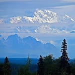 A long-distance shot of Mount McKinley at midnight in Denali National Park, Alaska, on July 28, 2015.The photo was submitted to USA TODAY via Your Take at yourtake.usatoday.com