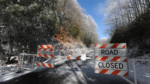 Most of the Blue Ridge Parkway in North Carolina, including the Asheville corridor, is closed Wednesday.