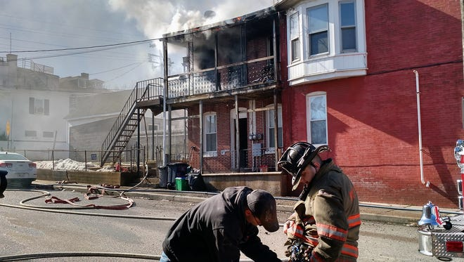 A fire burned in the 1200 block of West Poplar Street in West York Monday.
