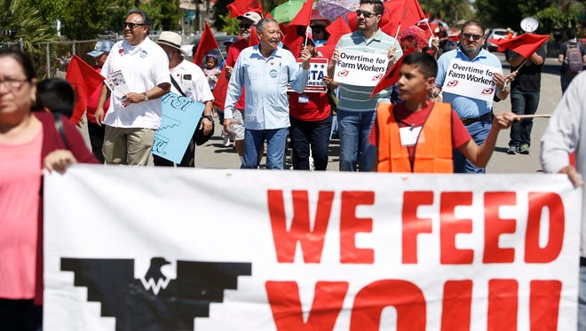 UFW members march in favor of farm workers rights.