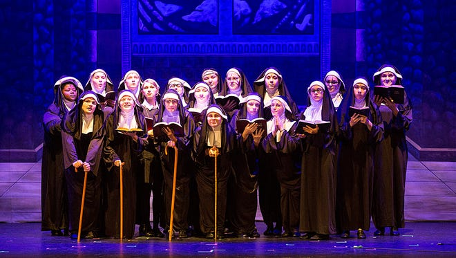 """Fond du Lac High School students acting as nuns pose for a photo for """"Sister Act"""" at the Fond du Lac High School, on Tuesday Oct. 24, 2017."""