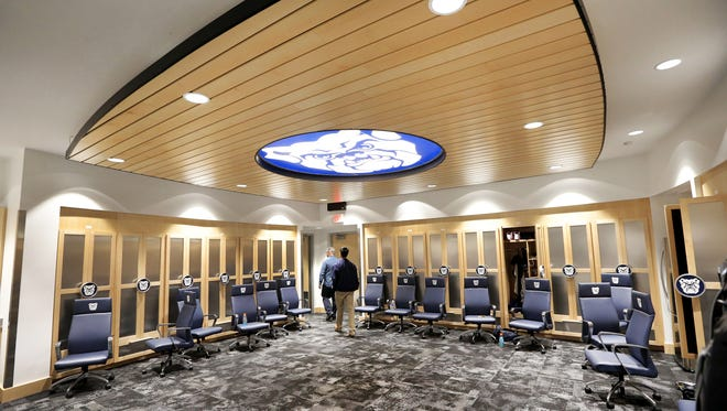 The men's basketball locker room awaits the 2014 season inside the newly renovated Hinkle Fieldhouse on Thursday, Oct. 30, 2014.