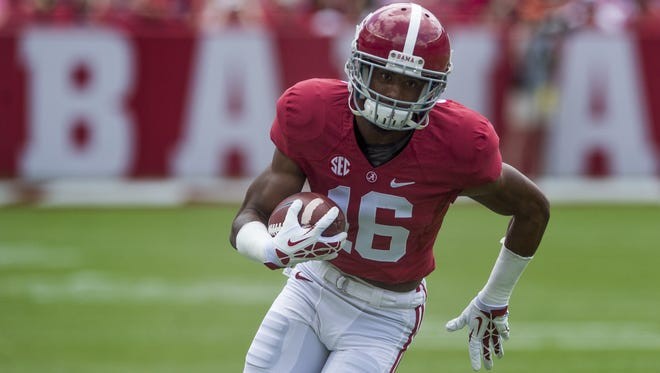 Alabama wide receiver T.J. Simmons was seen mostly on special teams last season.