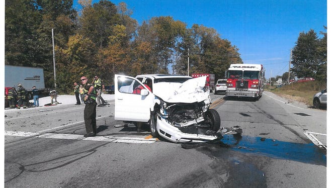 One of the vehicles involved in a fatal collision at the intersection of Ind. 135 and Ind. 44 on Friday, Oct. 7, 2016.