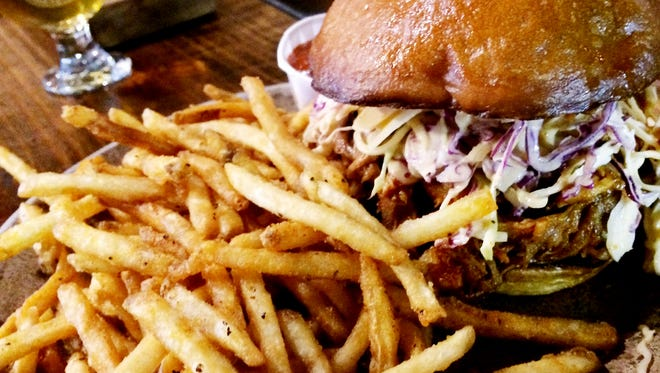 Tennessee Brew Works: Smoked pork with peach barbecue sauce, Southern Wit slaw and fried.