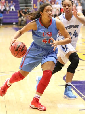 USJ's Ashton Hulme dribbles around a Northpoint Christian defender in the Division II-A state championship game on Saturday.