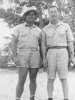 Staff Sgt. Clarence Otter and actor Joe E.Brown on Christmas Island at Christmas during WWII.