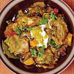 Chicken Curry with Sweet Potatoes and Dried Fruit is a great dish for a party with friends and family and make more for leftovers for busy nights.