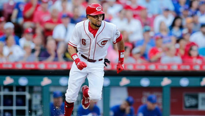 Cincinnati Reds center fielder Billy Hamilton (6) runs for first on a RBI single in the bottom of the second inning of the MLB National League game between the Cincinnati Reds and the Chicago Cubs at Great American Ball Park in downtown Cincinnati on Friday, June 22, 2018.