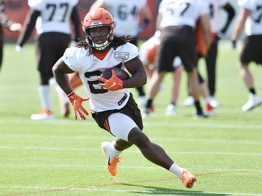 May 15, 2019; Berea, OH, USA; Cleveland Browns running back Kareem Hunt (27) runs with the ball during organized team activities at the Cleveland Browns training facility. Mandatory Credit: Ken Blaze-USA TODAY Sports